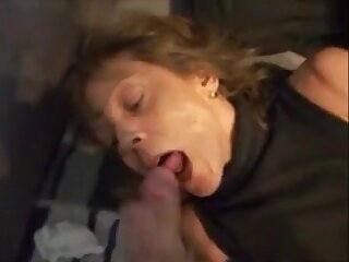 Mature wife handjob on bed and cum in mouth