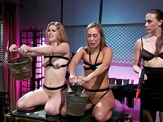 Trounce poofter BDSM threesome here Chanel Preston, Ella Nova and Christy Love