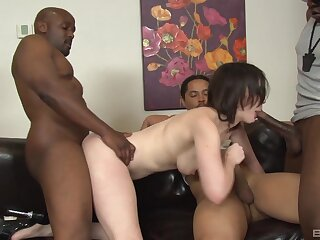 Black guys gangbang and DP sluttish brunette Jennifer Uninspired