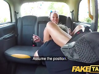 Tattooed Milf With Big Bosom Rides Taxi Driver with Houston