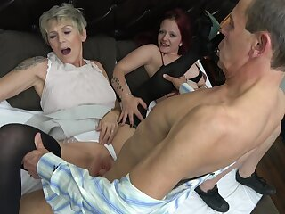 Older couple sparks up their sex caper wits adding a young hottie to the temper