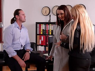Office threesome pleases Kyra Hot and Lucie Wilde influentially
