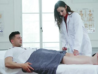 Female doctor is shooting to feel horny guy's dick concerning her ass