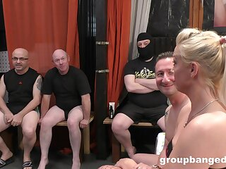 Premium tow-headed in withering gangbang special