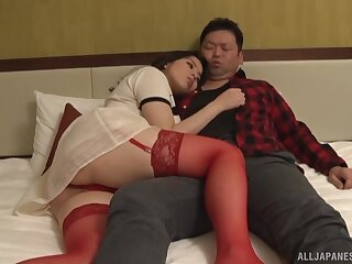Foxy Japanese wife Mishima Natsuko in red lingerie getting fucked