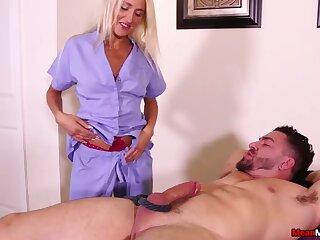 Dick tugging apart from brutal blonde Misha Mynx makes her menial cum