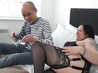 Mature with fat ass and saggy tits, morning sex with her stepson