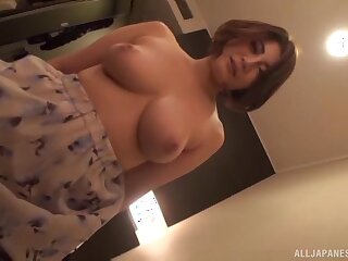Fat Japanese chick gets fingered and fucked good on the bed