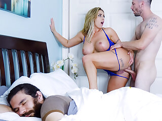 Big-Chested mature shag while her bf sleeps