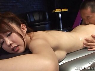 Enticing Asian babe with big natural tits getting her hairy pussy trained before getting slammed doggy style